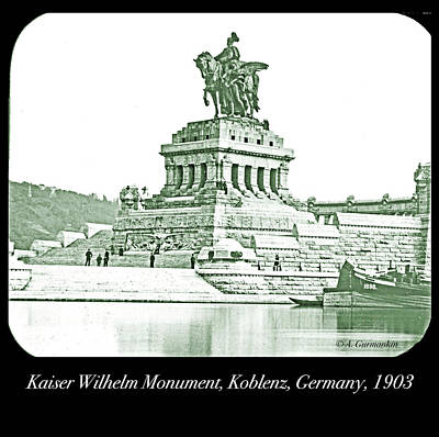 Photograph - Kaiser Wilhelm Monument, Koblenz, Germany, 1903 by A Gurmankin