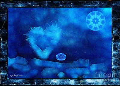 Mixed Media - Kaleidoscope Moon For Children Gone Too Soon Number - 4 Cerulean Valentine  by Aberjhani