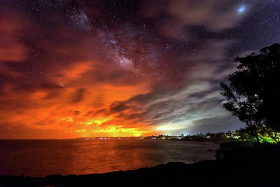 Photograph - Kaloli Point Lava Glow And Milky Way by Jason Chu