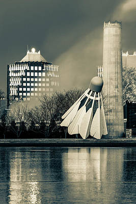 Royalty-Free and Rights-Managed Images - Kansas City Architecture with Shuttlecock Sculpture - Sepia by Gregory Ballos