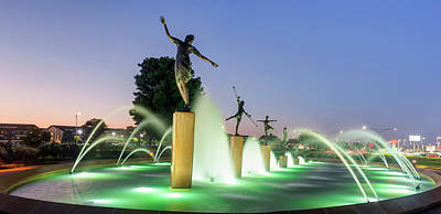 Royalty-Free and Rights-Managed Images - Kansas City Childrens Fountain Panorama at Dawn by Gregory Ballos