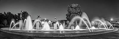 Photograph - Kansas City Children's Fountain Panorama - Missouri Monochrome by Gregory Ballos