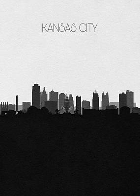 Drawing - Kansas City Cityscape Art V2 by Inspirowl Design
