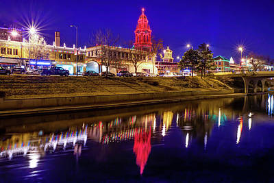 Photograph - Kansas City Country Club Plaza Light Reflections by Gregory Ballos