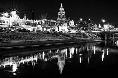 Photograph - Kansas City Country Club Plaza Lights - Black And White by Gregory Ballos