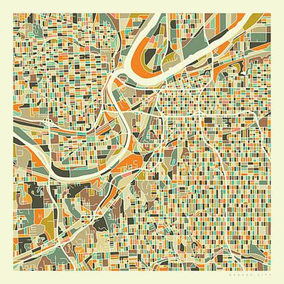 Kansas City Wall Art - Digital Art - Kansas City Map 1 by Jazzberry Blue