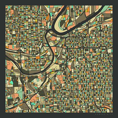 Kansas City Wall Art - Digital Art - Kansas City Map 2 by Jazzberry Blue