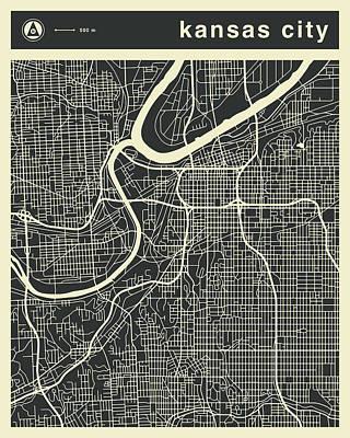Kansas City Wall Art - Digital Art - Kansas City Map 3 by Jazzberry Blue