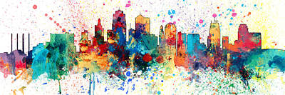 Digital Art - Kansas City Missouri Skyline Panoramic Spash by Michael Tompsett