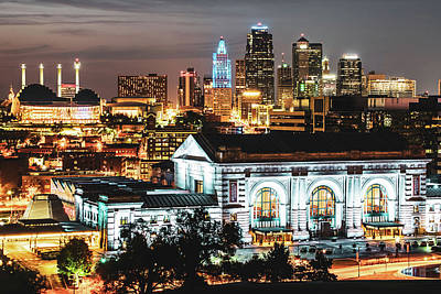 Photograph - Kansas City Night Skyline Over Union Station by Gregory Ballos