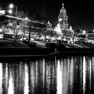 Photograph - Kansas City Plaza Light Monochrome Reflections - Square Format by Gregory Ballos