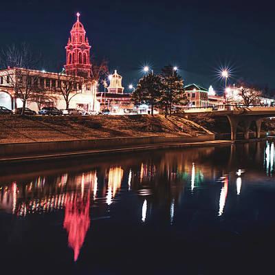 Photograph - Kansas City Plaza Lights Over Brush Creek - Square by Gregory Ballos
