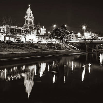Photograph - Kansas City Plaza Lights Over Brush Creek - Square Sepia by Gregory Ballos