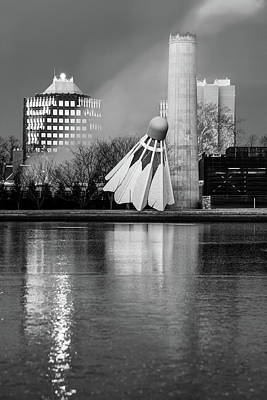 Photograph - Kansas City Shuttlecock Reflections On Ice - Black And White by Gregory Ballos