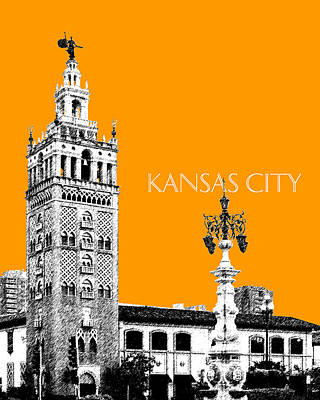 Kansas City Skyline Wall Art - Digital Art - Kansas City Skyline 2 - Dark Orange by DB Artist
