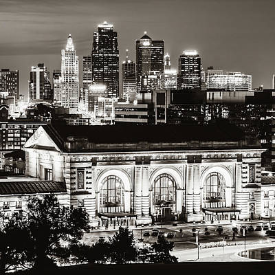 Photograph - Kansas City Skyline Twilight - Square Format Classic Sepia by Gregory Ballos