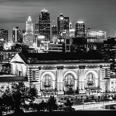 Photograph - Kansas City Skyline Twilight - Square Format Monochrome by Gregory Ballos