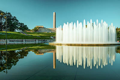 Photograph - Kansas City Union Station Fountain And War Memorial Reflections by Gregory Ballos