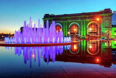 Photograph - Kansas City Union Station Fountain Dusk Colors by Gregory Ballos