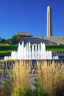 Royalty-Free and Rights-Managed Images - Kansas City Union Station Fountain Under the War Memorial by Gregory Ballos