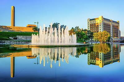Photograph - Kansas City War Memorial Fountain Reflections by Gregory Ballos