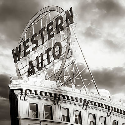Photograph - Kansas City Western Auto Neon Sign - Square Format Sepia by Gregory Ballos