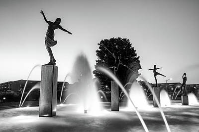 Photograph - Kansas City's Children Fountain At Dawn - Black And White by Gregory Ballos