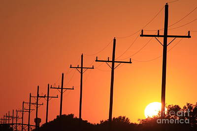 Comic Character Paintings - Kansas Colorful Power Line silhouette Sunset by Robert D Brozek