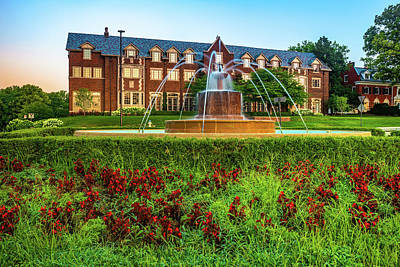 Royalty-Free and Rights-Managed Images - Kansas University Chi Omega Sorority Fountain at Sunrise - Lawrence KS by Gregory Ballos