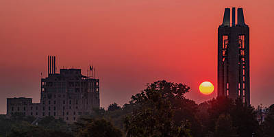 Royalty-Free and Rights-Managed Images - Kansas University Skyline Red Dawn Sunrise Panorama by Gregory Ballos