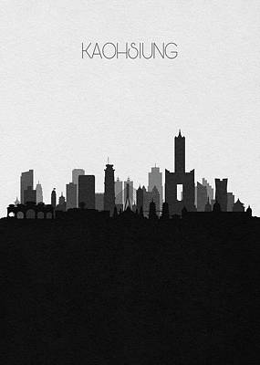 Digital Art - Kaohsiung Cityscape Art by Inspirowl Design