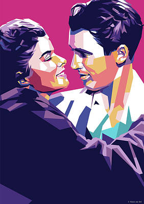 Classic Cocktails - Katharine Hepburn and James Stewart by Stars on Art