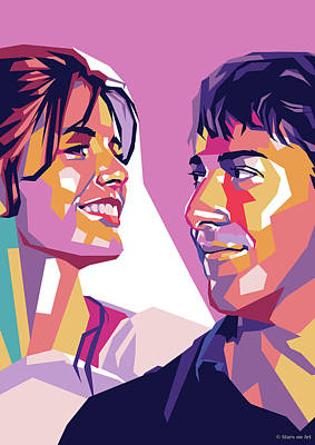 Colorful Button - Katharine Ross and Dustin Hoffman by Stars on Art