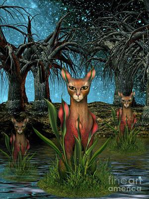 Digital Art -  Mystical Katz by Elaine Manley