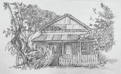 Drawings Royalty Free Images - Kauai Shack Royalty-Free Image by Louis Ebarb