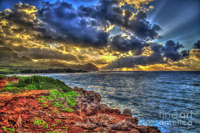 Photograph - Kauai Sunrise Seascape Mahaulepu Beach Kauai Hawaii Art by Reid Callaway