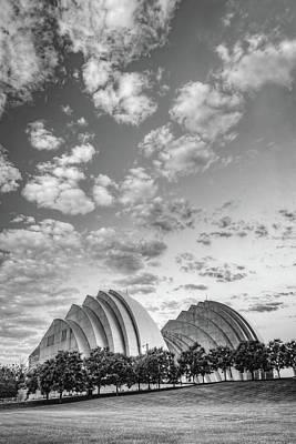 Photograph - Kauffman Arts Center Grand Ballroom Landscape - Kansas City Monochrome by Gregory Ballos