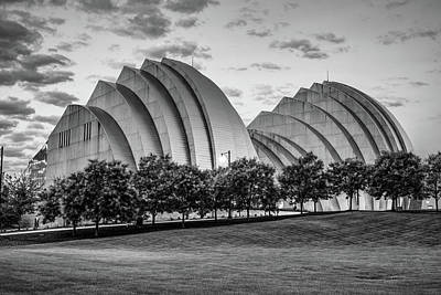 Photograph - Kauffman Center At Dawn In Black And White - Downtown Kansas City Missouri by Gregory Ballos