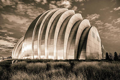 Photograph - Kauffman Center At Dawn - Kansas City Architectural Sepia Contrasts by Gregory Ballos