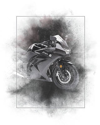 Mixed Media - Kawasaki Ninja 1000 Sport Black Painting by Smart Aviation