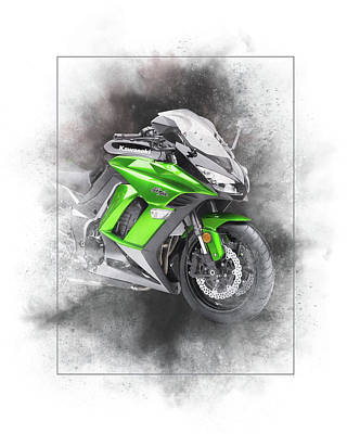 Mixed Media - Kawasaki Ninja 1000 Sport Painting by Smart Aviation