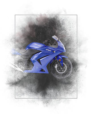 Mixed Media - Kawasaki Ninja 250r Painting by Smart Aviation