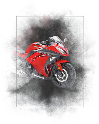 Mixed Media - Kawasaki Ninja 300 Abs Painting by Smart Aviation