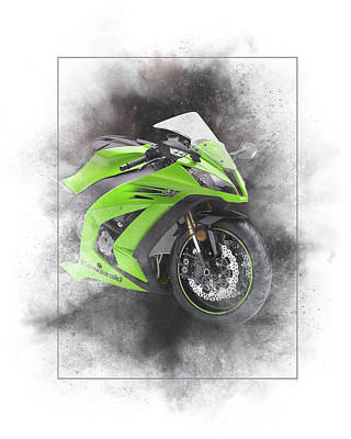Mixed Media - Kawasaki Ninja Zx 10r Sport Painting by Smart Aviation
