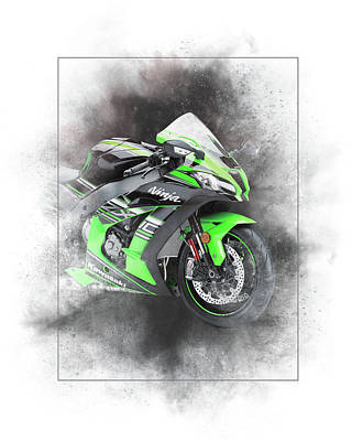 Mixed Media - Kawasaki Ninja Zx-14 Painting by Smart Aviation