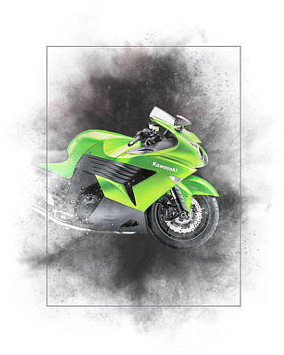 Mixed Media - Kawasaki Zzr 1400 Painting by Smart Aviation