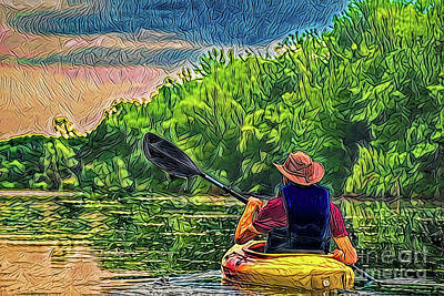 Painting - Kayak Adventure A18-40 by Ray Shrewsberry