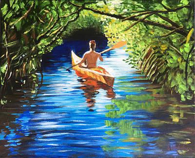 Painting - Kayak in Nature Preserve by Robert Korhonen
