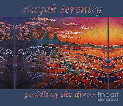 Painting - Kayak Serenity-paddling The Dream Blu Border by Sue Duda