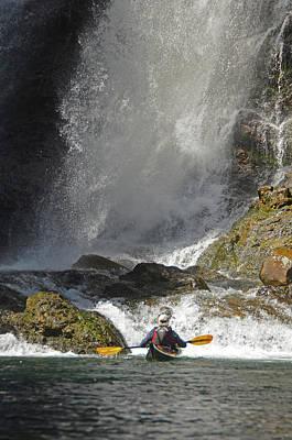 Photograph - Kayaker At Base Of Waterfall by Curt Remington